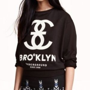 H&M Brooklyn Underground Black Graphic Sweatshirt